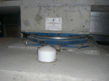 One of the base isolation units inserted under the Pioneer Courthouse as part of a seismic retrofit.  Photo by D. Pinyerd.