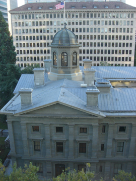 Portland's Pioneer Courthouse seen from The Nines, a boutique hotel inserted into the Meyer & Frank Building.  Photo by D. Pinyerd.