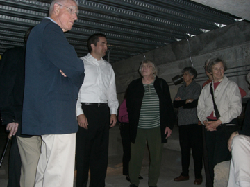 Touring the Pioneer Courthouse's sub-basement with Jim Riley of SERA Architects.  Photo by D. Pinyerd.
