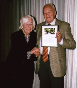 Mirza Dickel and Wallace K. Huntington were honored for their roles as officers and advisers of long standing with a Marion Dean Ross Chapter Service Award, which they accepted at the annual conference in Portland in 2009.  Photo by Elisabeth Potter.