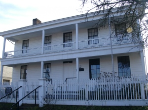 The 1849 Monteith House in Albany, Oregon, home of the town founders, Thomas and Walter Monteith.