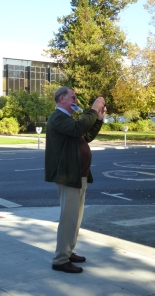 Shutterbug Don Peting in action during Elisabeth Potter's Tour of Salem Landmarks.
