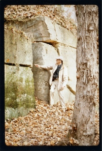 Lee Nelson in 1992 at Aquia Quarry, where sandstone used on the White House and the original section of the U.S. Capitol was quarried. Photograph by Chad Fisher; courtesy UO Libraries Special Collections.