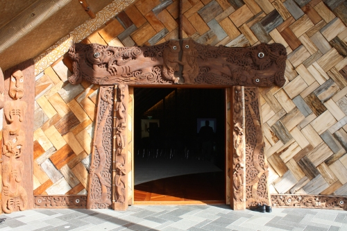 Entrance to the Marae on the Unitec campus in Auckland.  Photo by Diana Painter.