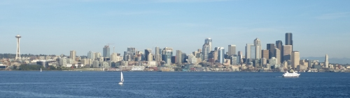 Seattle Skyline from the Space Needle to Smith Tower.  Photo by B. P. Niederer.