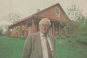 Wallace Kay Huntington at his restored home, the William Case House in the vicinity of Champoeg. Ron Cooper Photo, Statesman Journal, Salem, Oregon, April 25, 1990.
