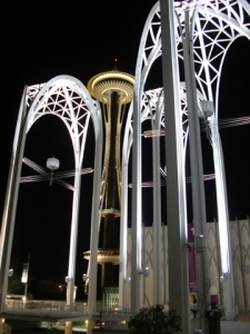 Pacific Science Center and Space Needle (mostly Yamasaki, 1962) Seattle, WA. Photo by D. Pinyerd.