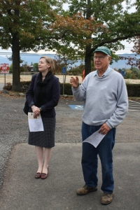 Vice President Amanda Clark and host Judson Parson at Hillcrest Orchard . Photo: D. Painter
